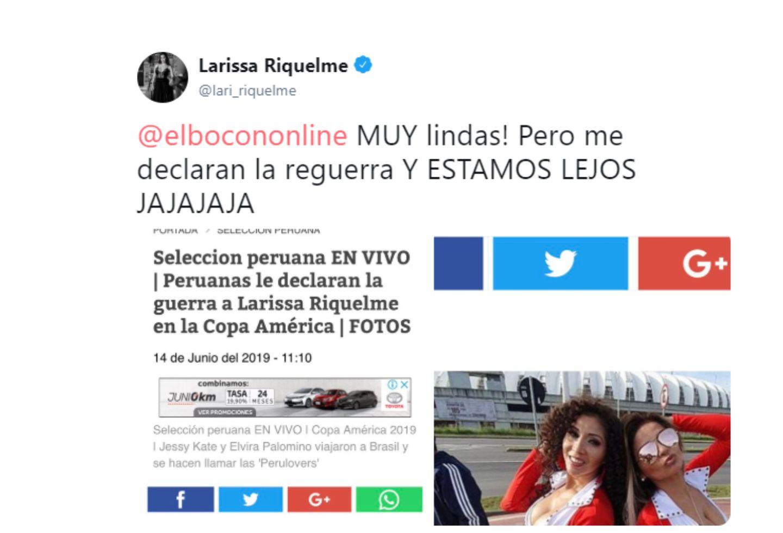 Este fue el Twitter de Larissa Riquelme a unas peruanas.