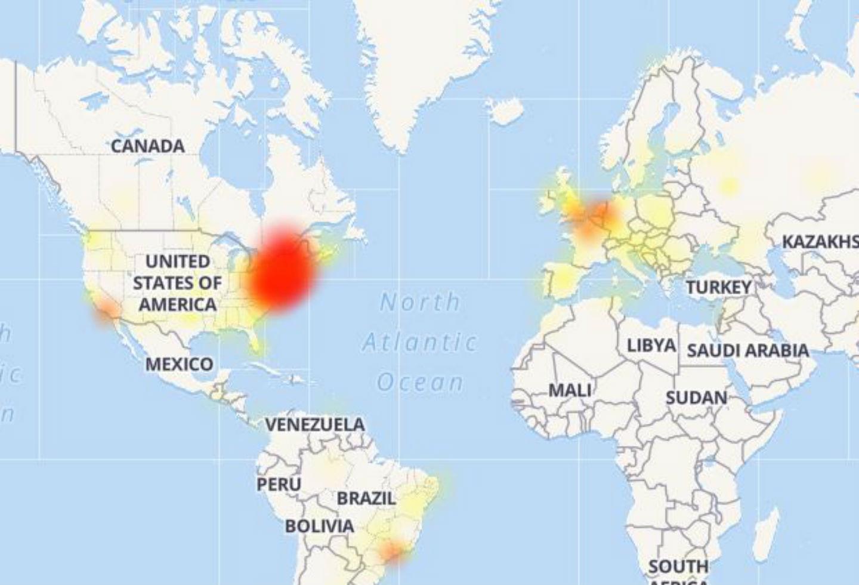 Mapa de caída de Youtube y Google