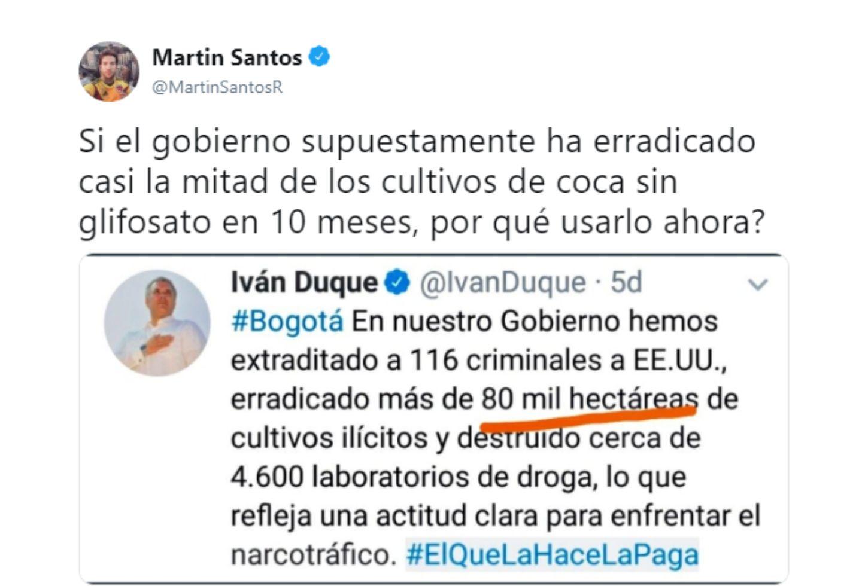Así fue el trino de Martín Santos contra Iván Duque.