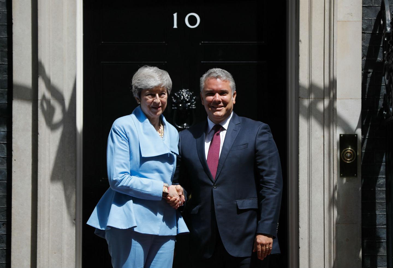 Theresa May junto al presidente Iván Duque