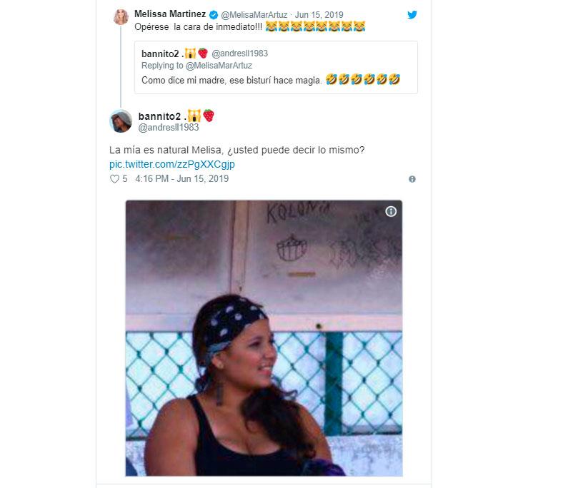El comentario en Twitter que provocó la respuesta inmediata de Melissa Martínez