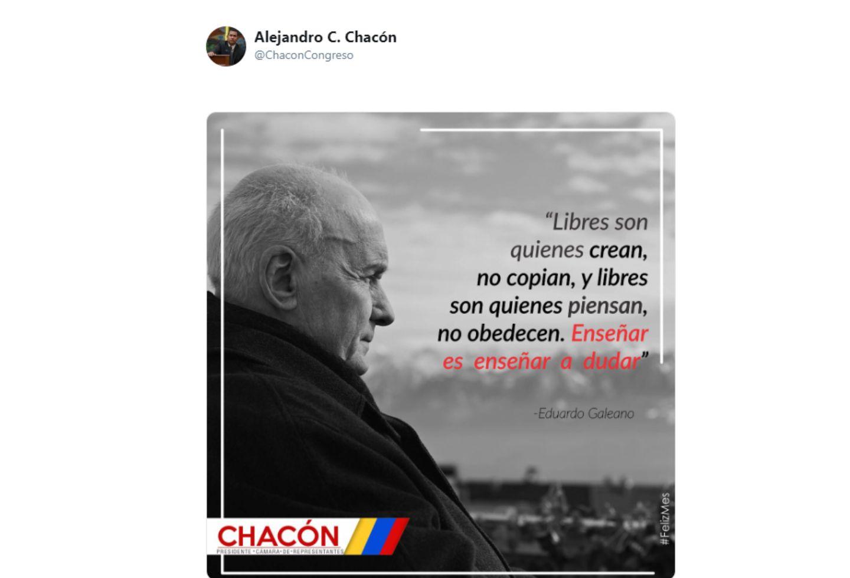 El polémico trino de Alejandro Chacón.