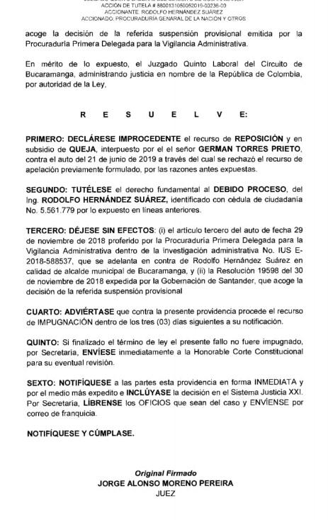 Donde se resuelve que Rodolfo Hernández se reintegre a su cargo