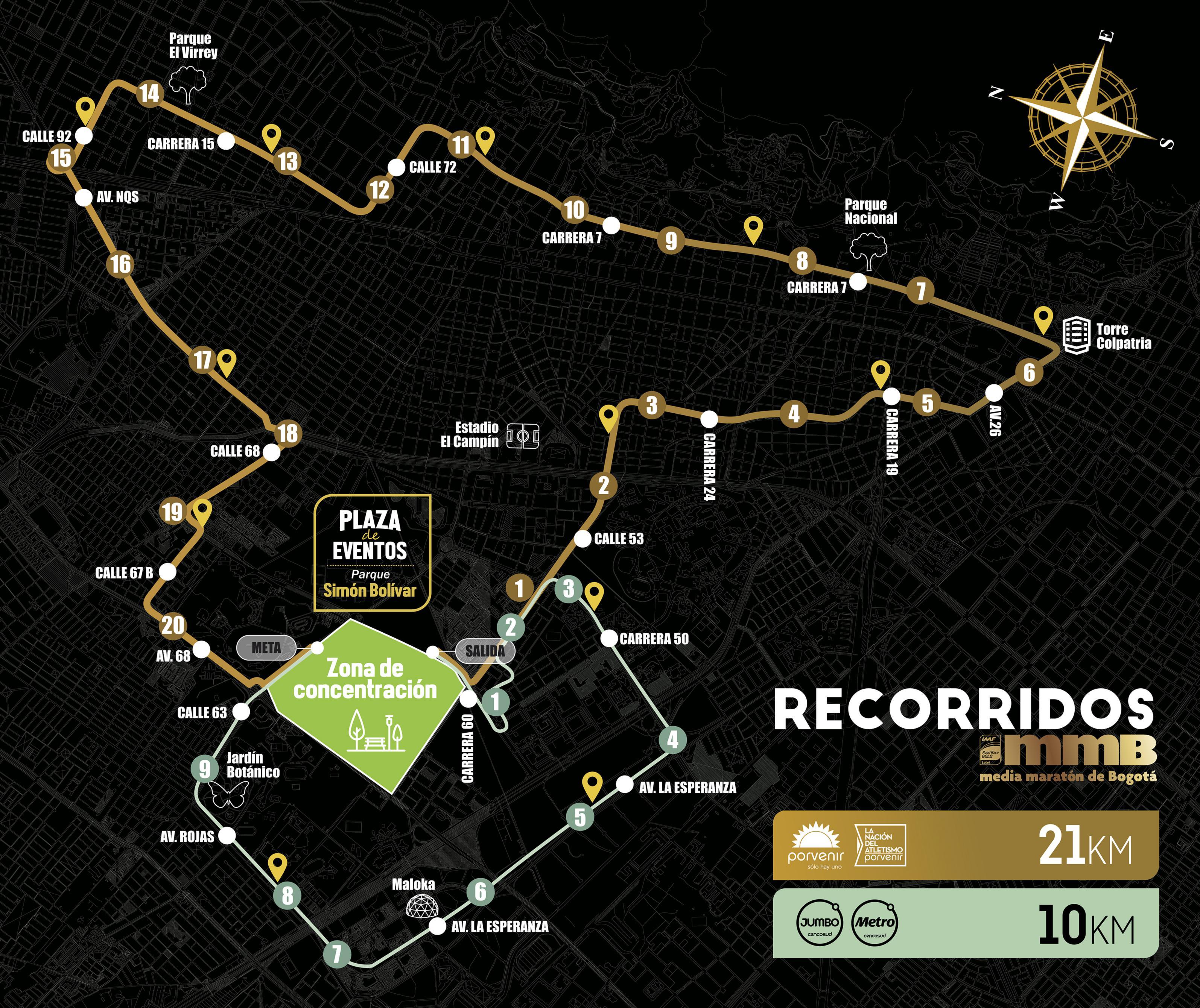 Mapa de los cierres de la Medía Maratón de Bogotá