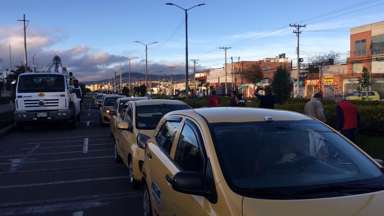 Protestas de taxistas en Bogotá