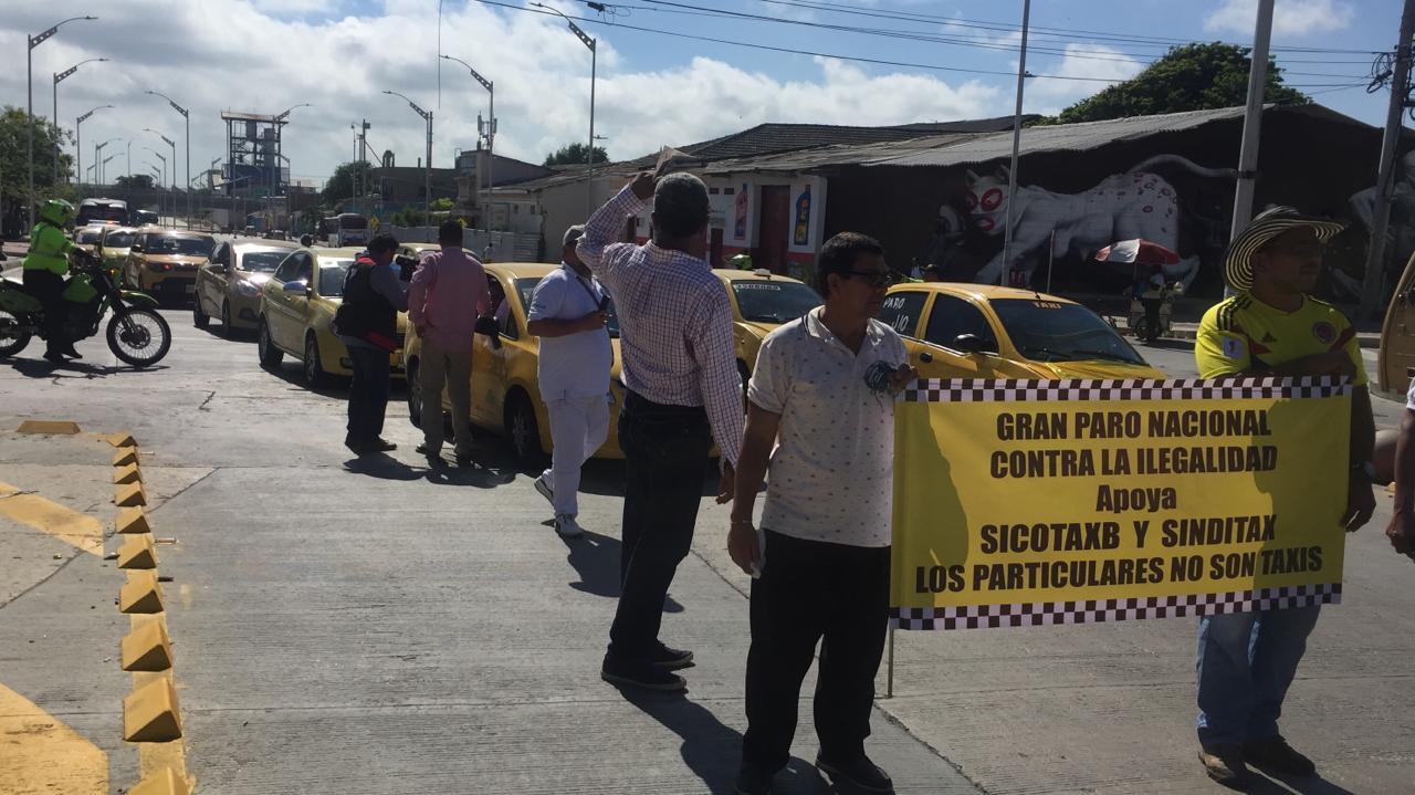 Protesta taxistas Barranquilla