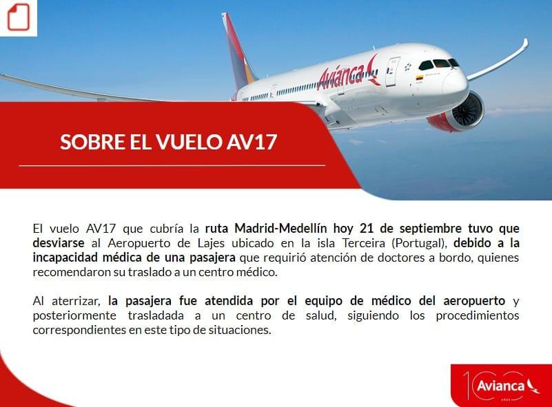 Avión aterriza por emergencia médica