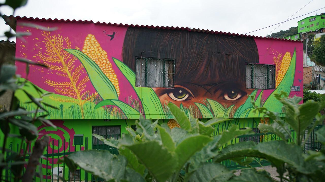 Fachadas de casas pintadas en la localidad de Usaquén