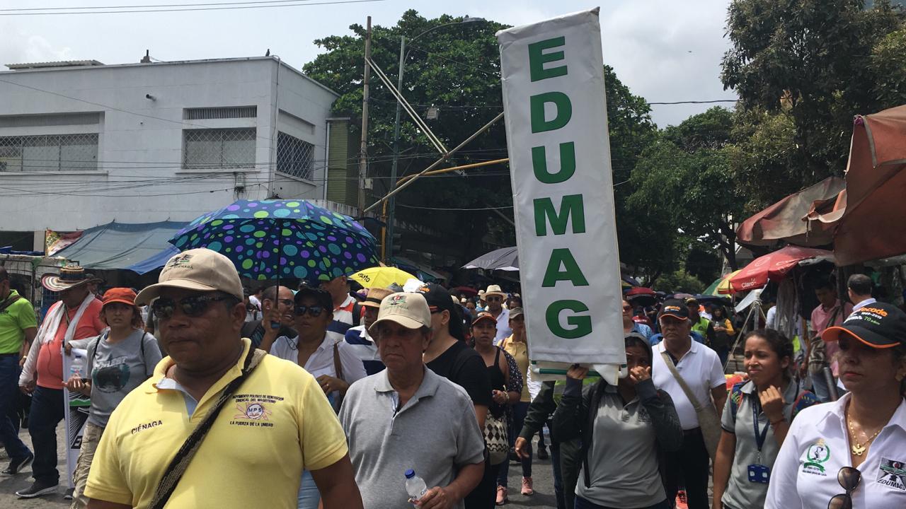 Manifestantes en Santa Marta.
