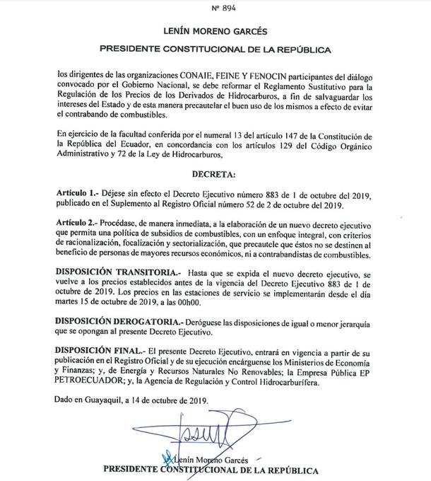 Nuevo decreto firmado por Lenín Moreno