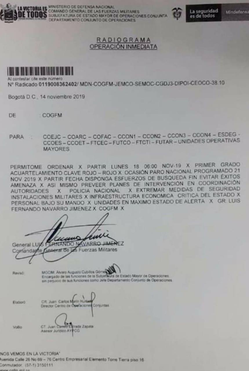 Documento del Ejercito Nacional