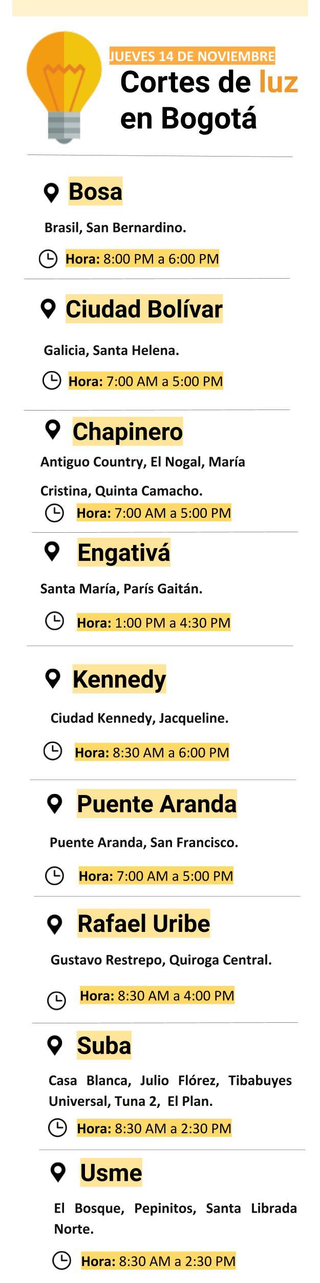 Cortes de luz del jueves 14 de noviembre en Bogotá.