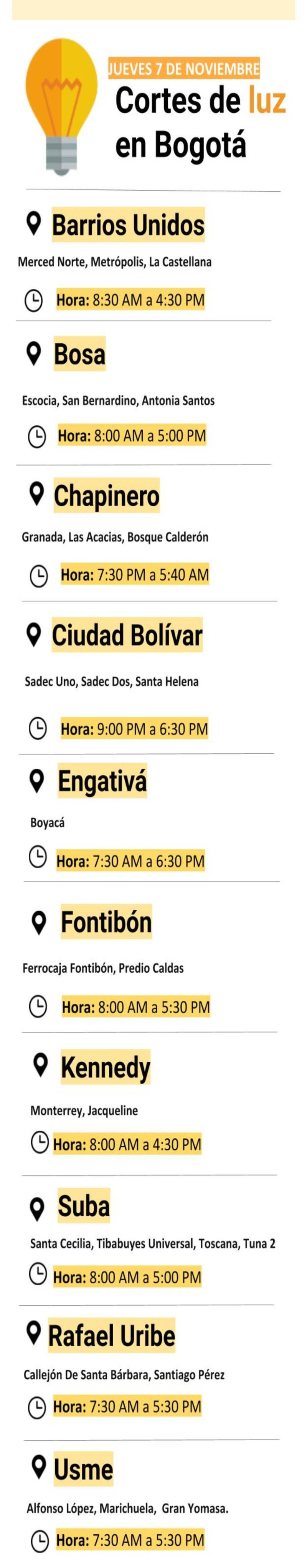 Los barrios de Bogotá que estarán sin luz este jueves