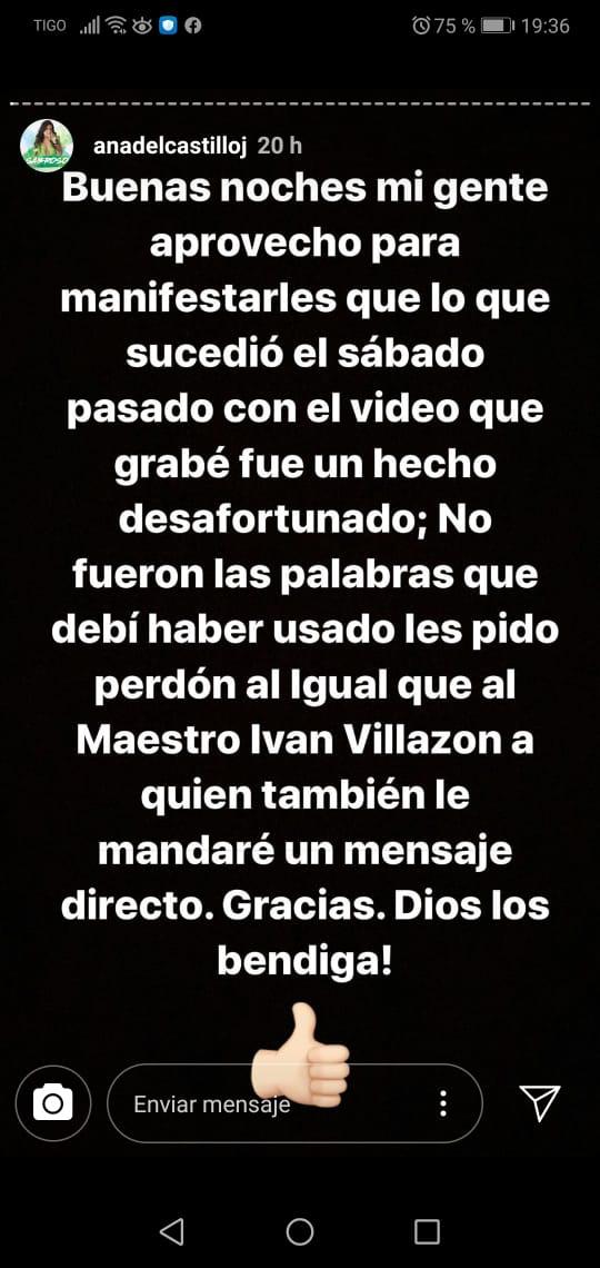 Disculpas de Ana del Castillo a Iván Villazón