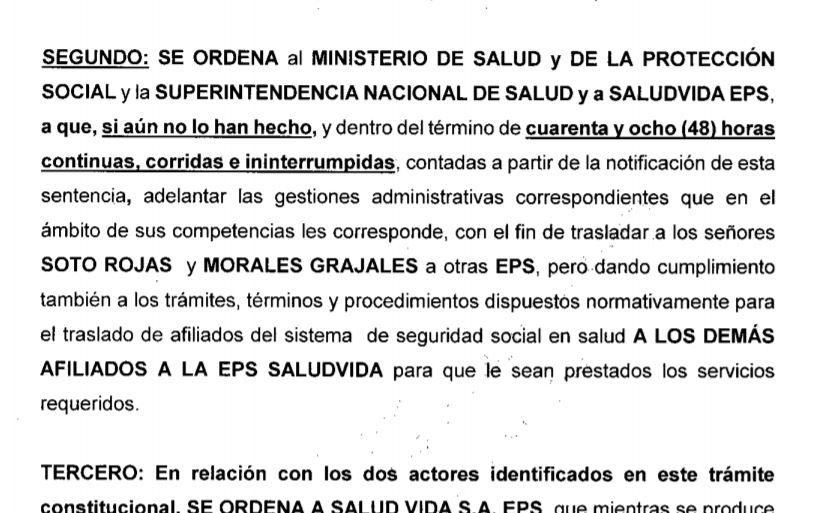 FALLO SALUDVIDA