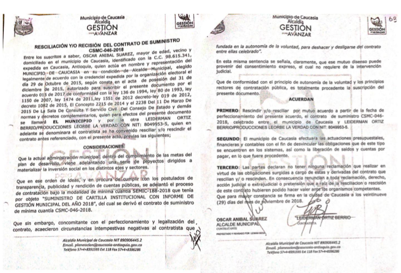 El acta de resciliación presentada por Leiderman Ortiz.