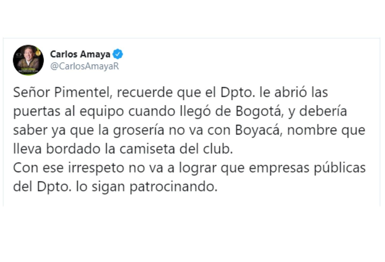 Así fue el mensaje de Carlos Amaya a Eduardo Pimentel.