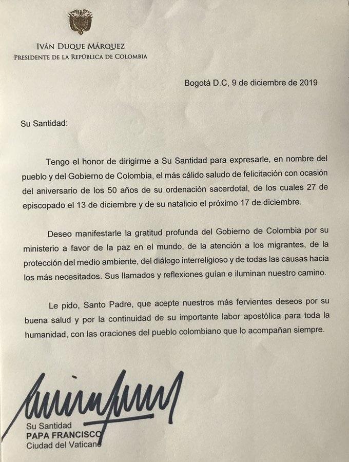 Carta de Iván Duque al papa Francisco
