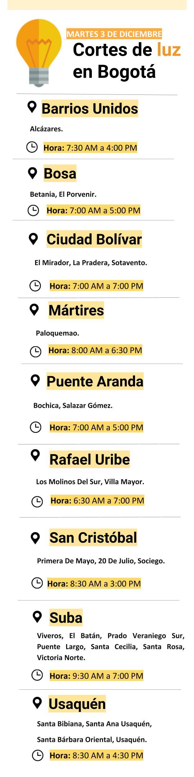 Cortes de luz en Bogotá para el tres de diciembre