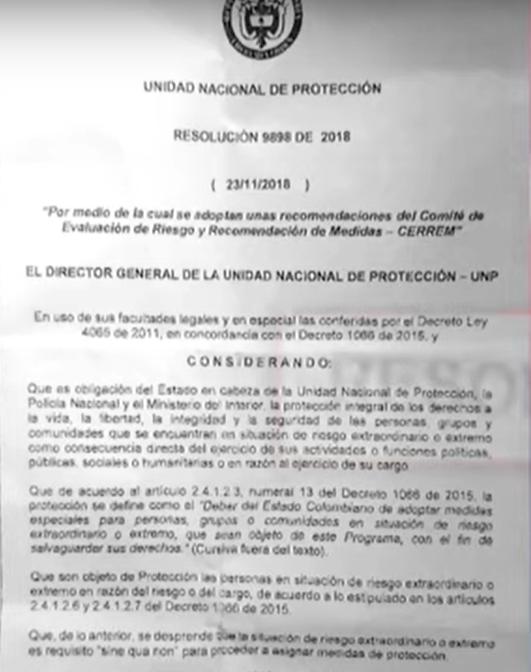 Resolución del esquema de seguridad de Adriana Torres