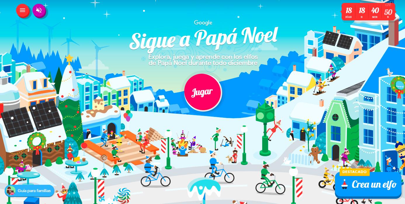 Sigue a Papá Noel es una página de Google