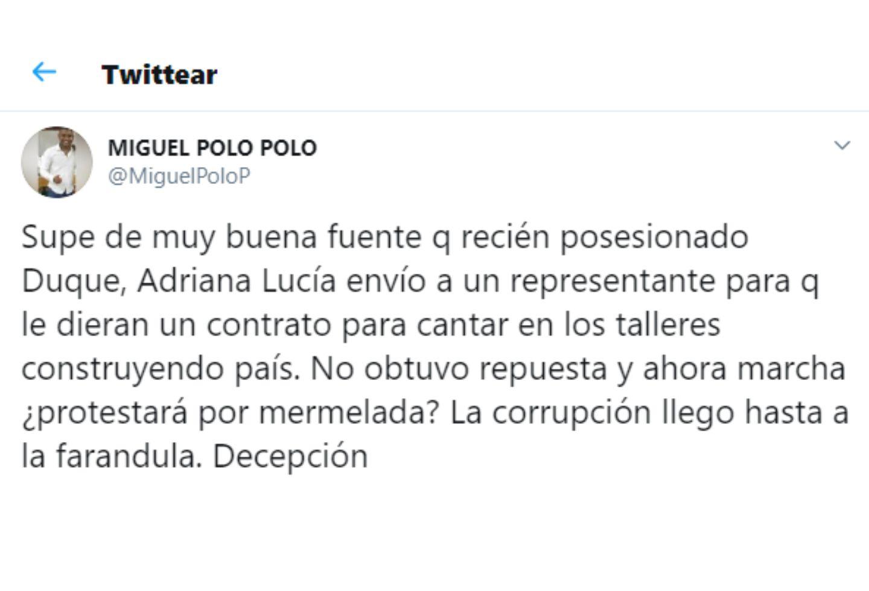 Adriana Lucía anunció que demandará a Miguel Polo Polo