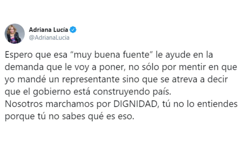Adriana Lucía alista denuncia por trino de Miguel Polo Polo