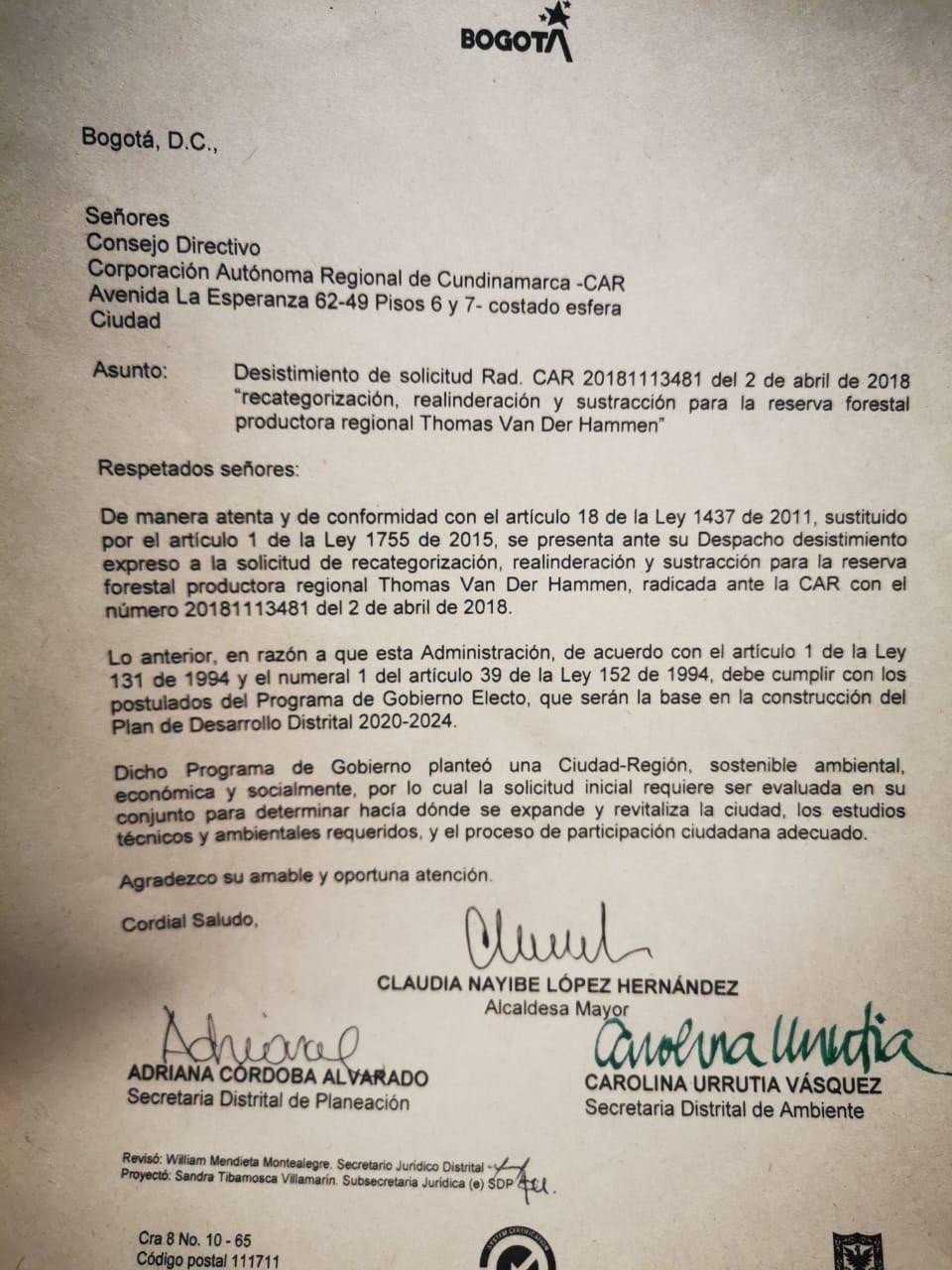 Carta de Claudia López sobre reserva Van der Hammen