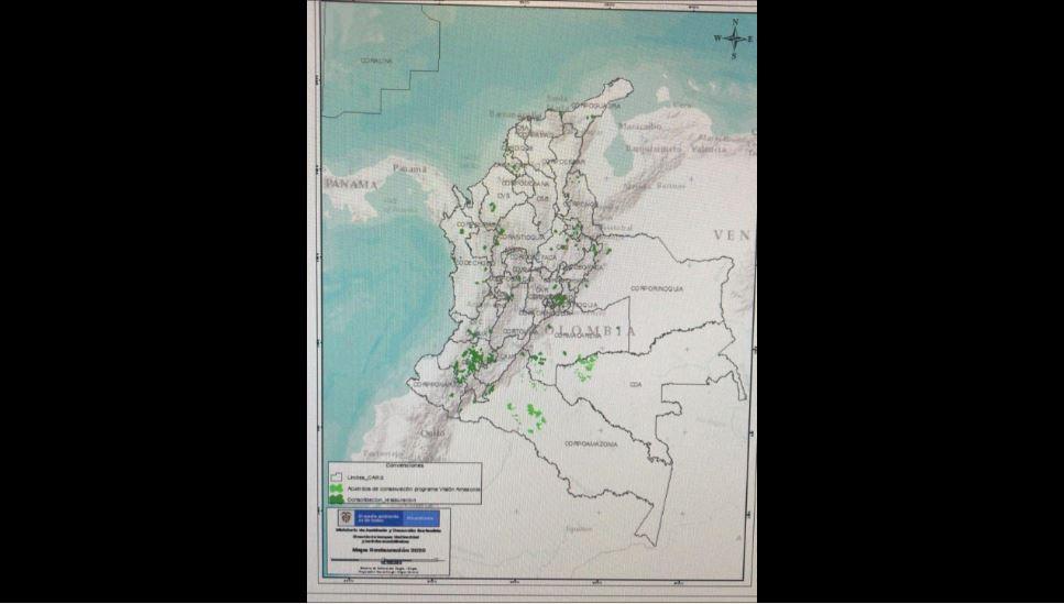 Mapa de siembra de árboles por parte del Gobierno Nacional.