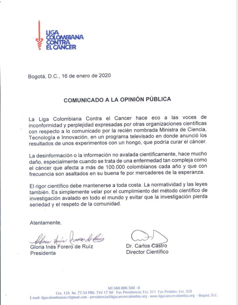 Comunicado Liga Colombiana contra el Cáncer