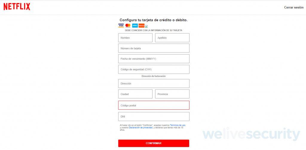 formulario falso Netflix