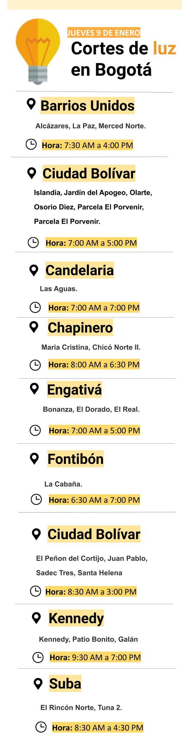 Cortes de luz en Bogotá para el jueves