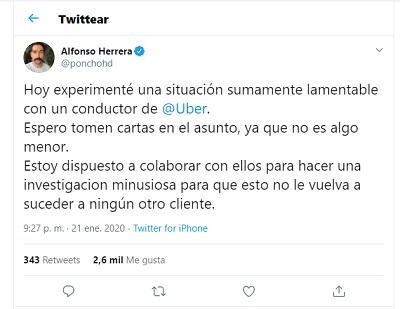 Poncho Herrera, pantallazo de Twitter