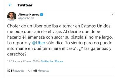 Poncho Herrera, pantallazo Twitter