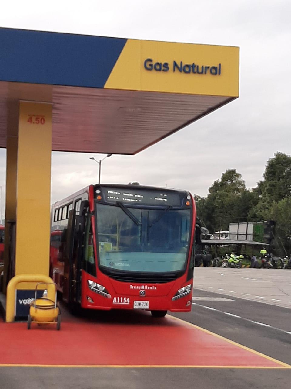 Buses de Transmilenio a gas