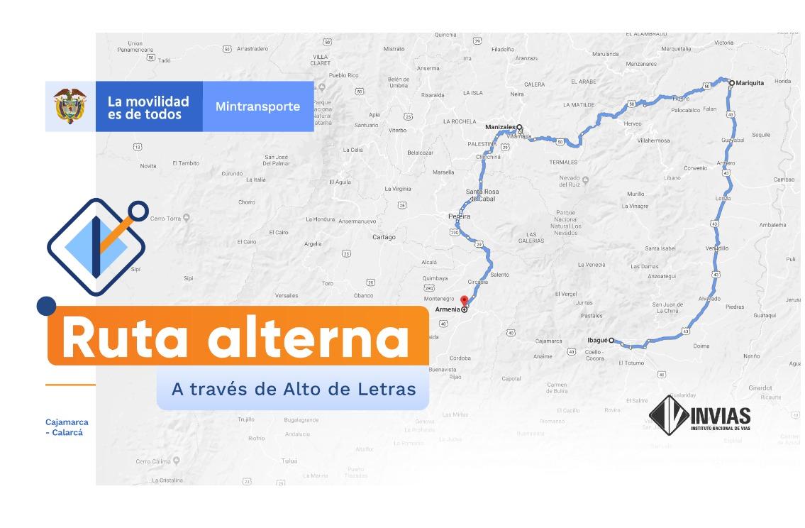 Vías alternas Cajamarca - Calarcá