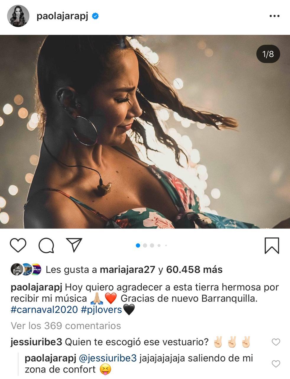 Captura Instagram - Paola Jara y Jessi Uribe