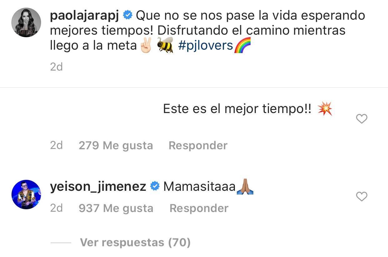 Captura Instagram - Paola Jara y Yeison Jimenez