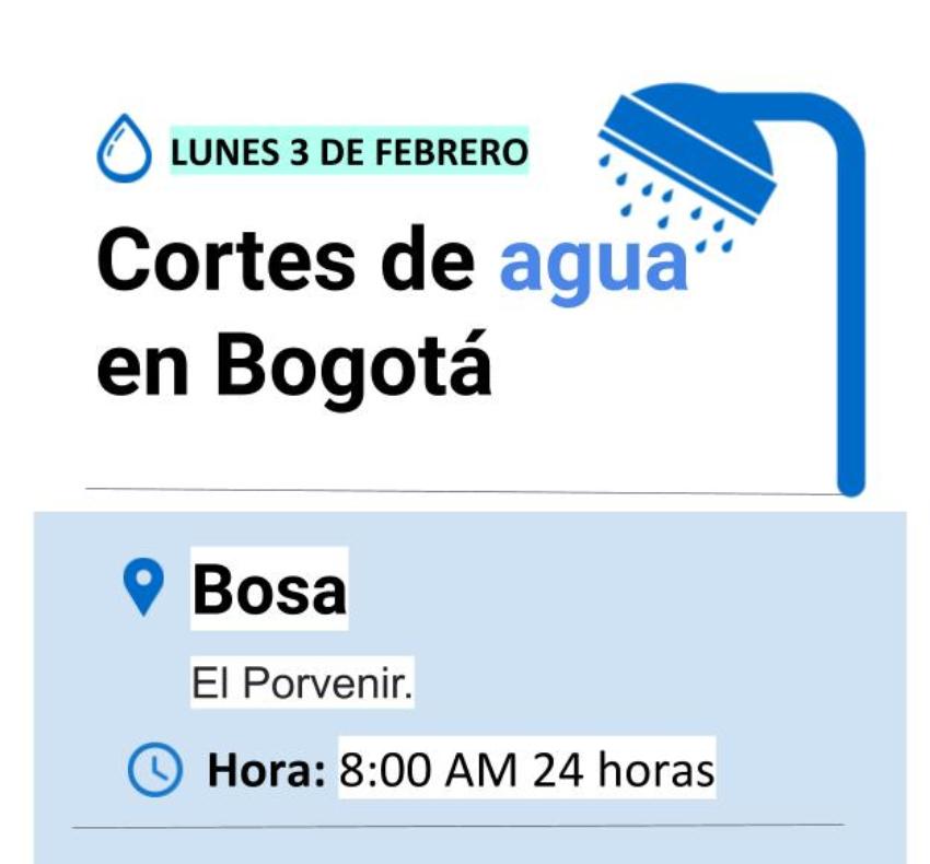 Cortes de agua en Bogotá lunes 3 de febrero