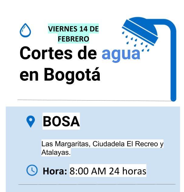 Cortes de agua para el viernes 14 de febrero