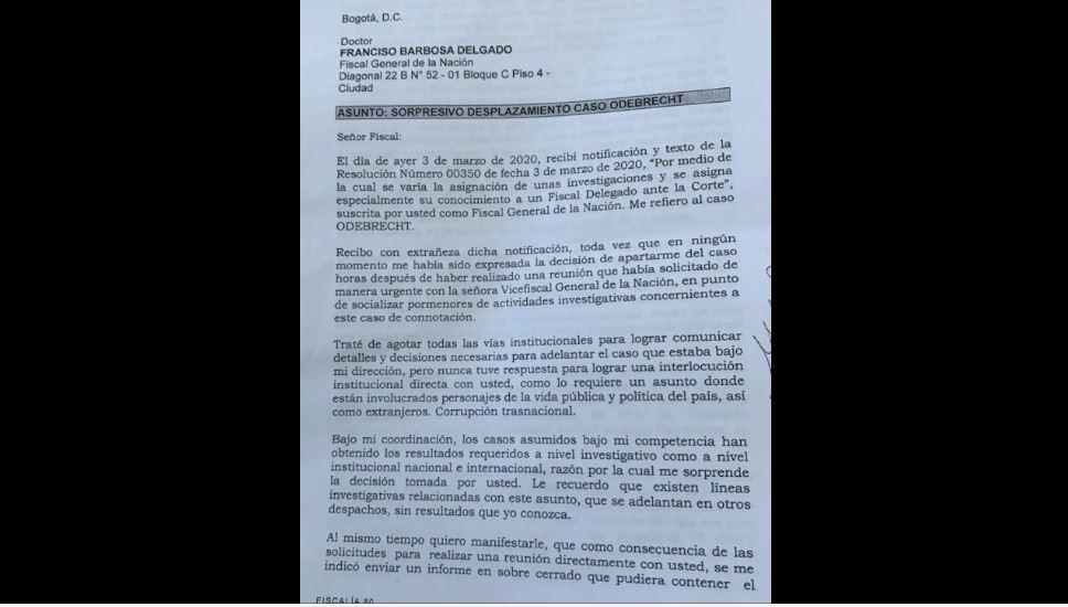 Carta de Fiscal apartada del caso Odebrecht