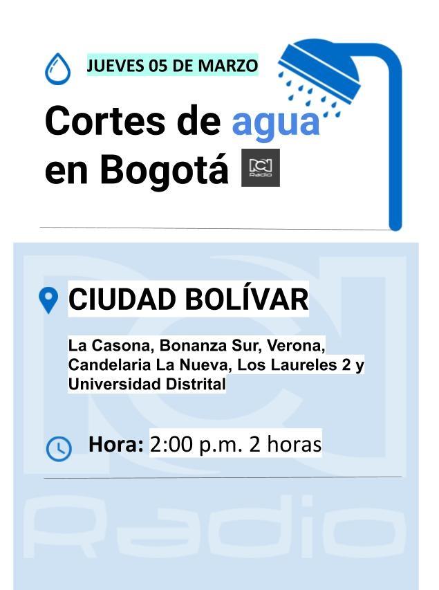 Cortes de agua en Bogotá para el 5 de marzo