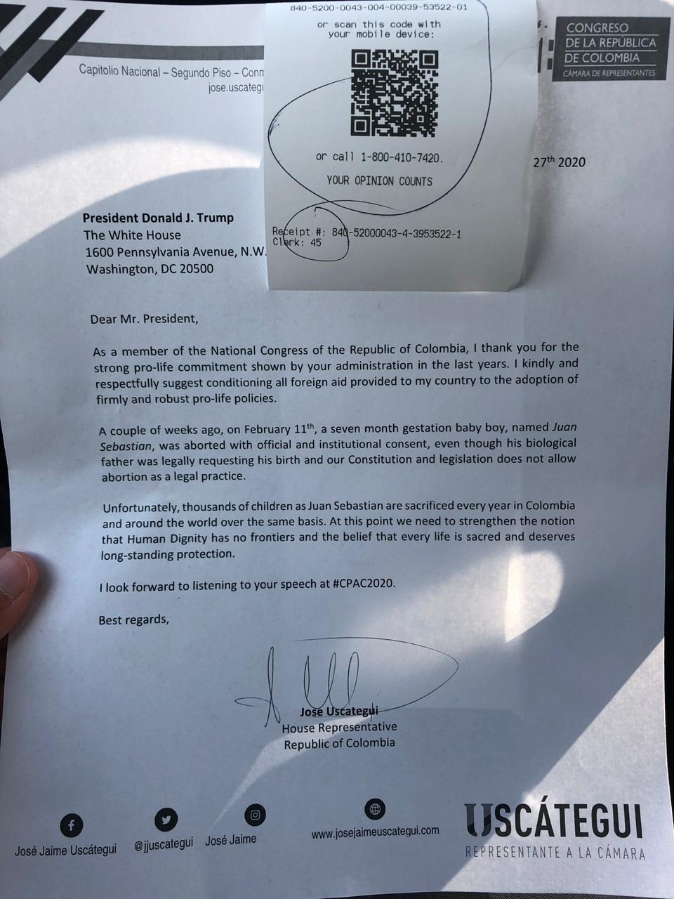 Carta Donald Trump, José Jaime Uscátegui