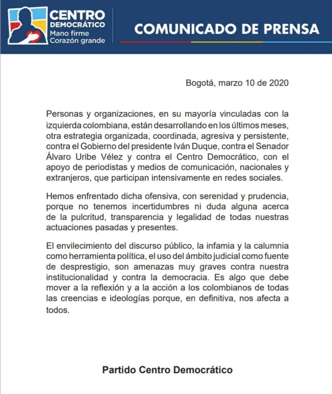 Comunicado Centro Democrático izquieda