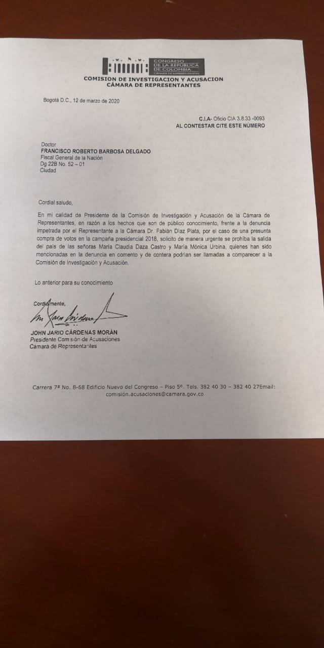 Carta Comisión de Acusación ñeñepolítica