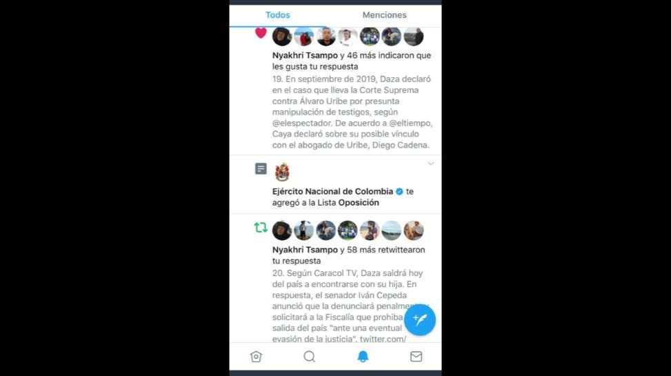 """Captura de pantalla en la que el Ejército crea """"lista de oposición"""" en Twitter."""