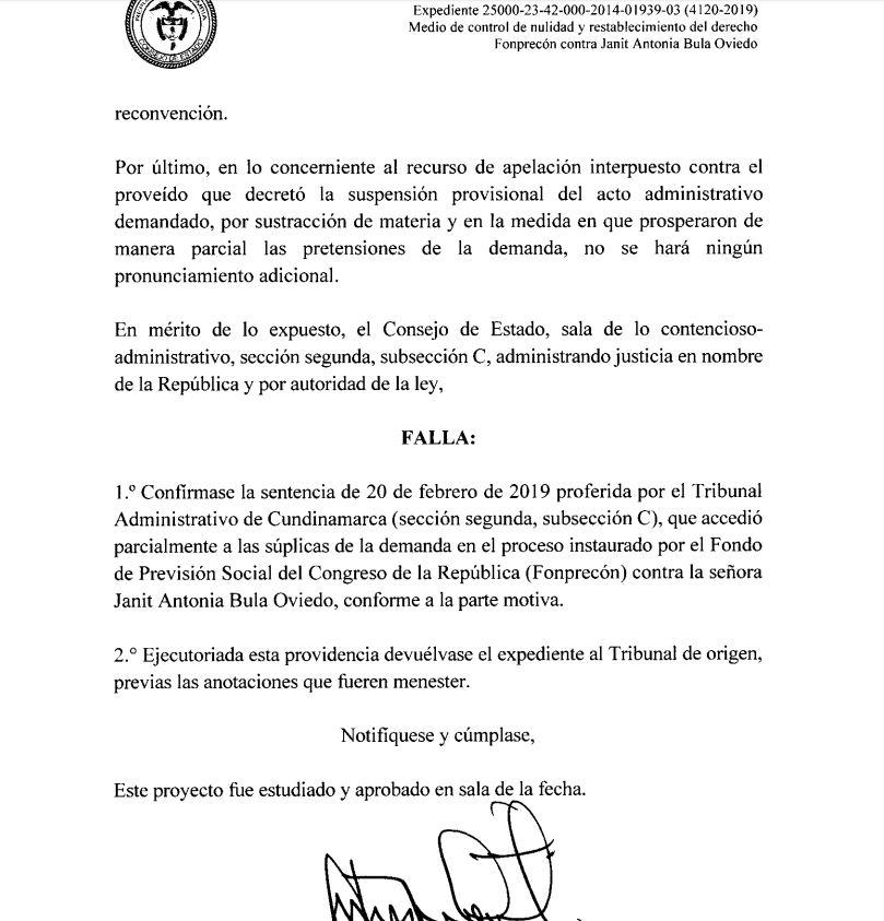 FALLO DEL CONSEJO DE ESTADO