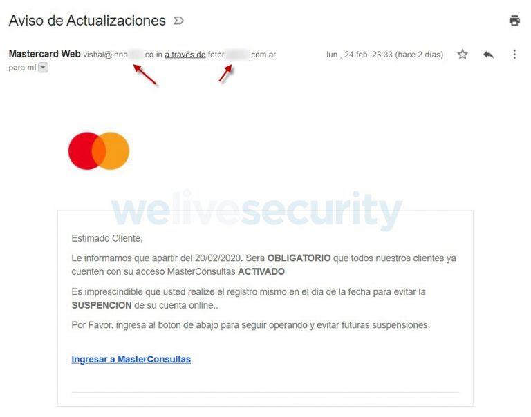 Estafa con usando la marca de MasterCard