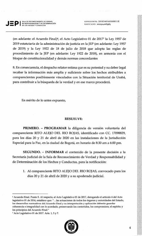 JEP - GENERAL RITO ALEJO DEL RÍO