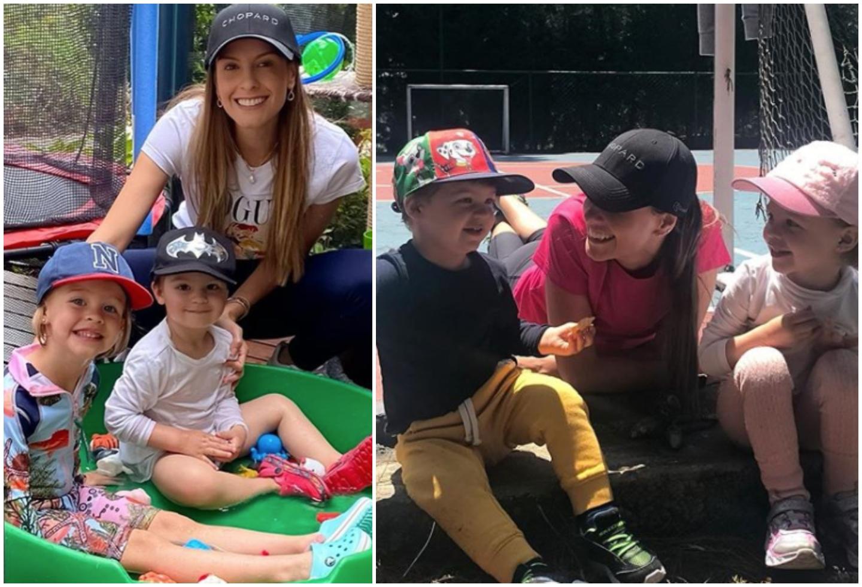 Laura Acuña y sus dos hijos, Helena y Nicolás